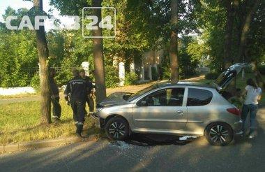 «Пежо» врезался в дерево на улице Пушкина
